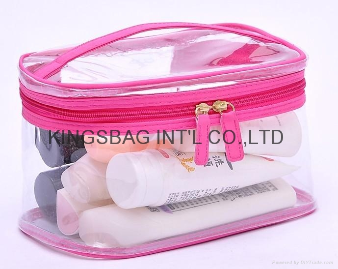 Clear Vinyl Zippered Cosmetic Bag Carry Case Travel Makeup Pvc Printed Bags Product