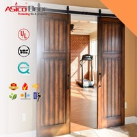 Two panels Classical brace Unfinished Interior Wooden Door Panel With Sliding Door Hardware American style