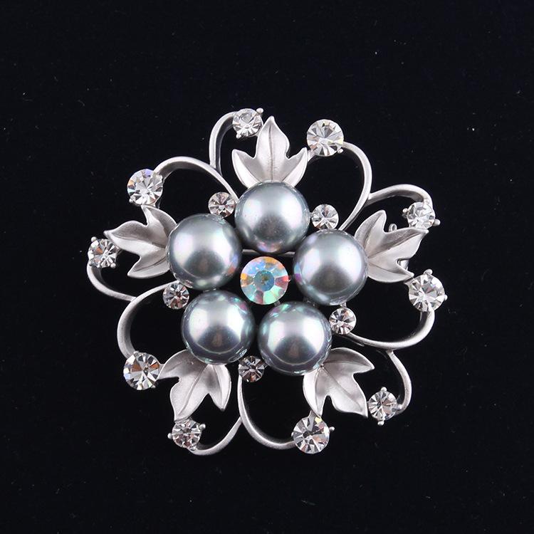 bfd74ff46e87 Gris perla del día de madre broche oro plata Boutonniere pins rhinestone  Plata Mate boda broches