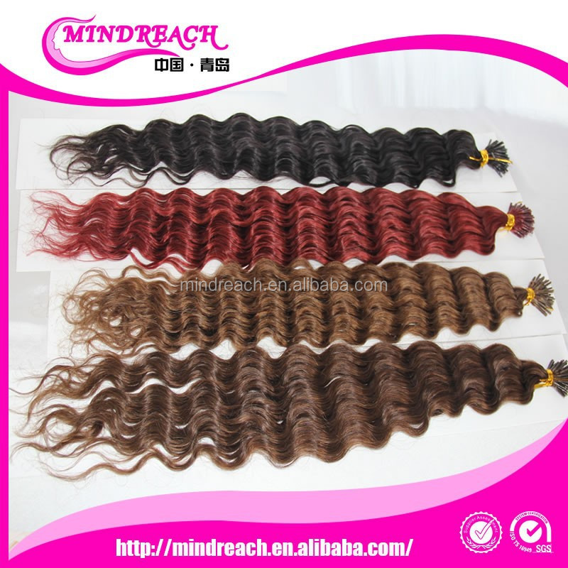 Hair factory direct Deep curly Indian hair pre bonded I tip extensions hair extensions keratin extension with 24inches
