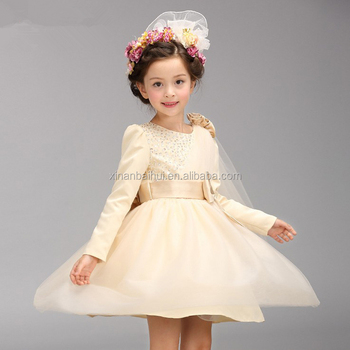 kids party wear dresses long sleeve champagne dresses flower girl dress for wedding kid clothes for winnter