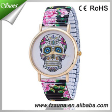 Hot Selling Beautiful Quartz Stretch Women Skull Faces Hand Watch