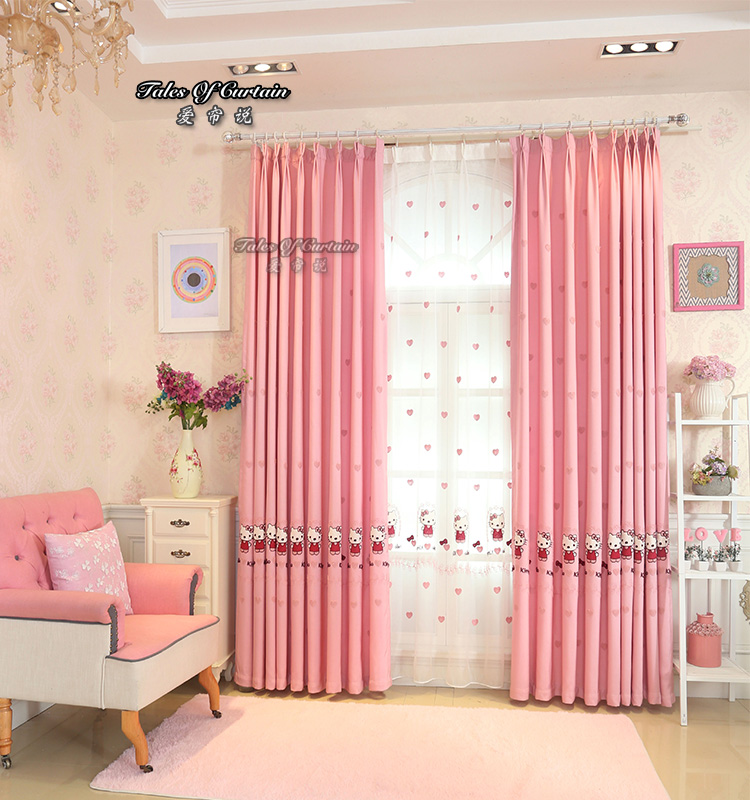 Designed For Children And Girl Bedroom Pink Kitty Cat Curtains - Buy Kitty  Cat Curtain,Pink Curtain,Bedroom Curtain Product on Alibaba.com