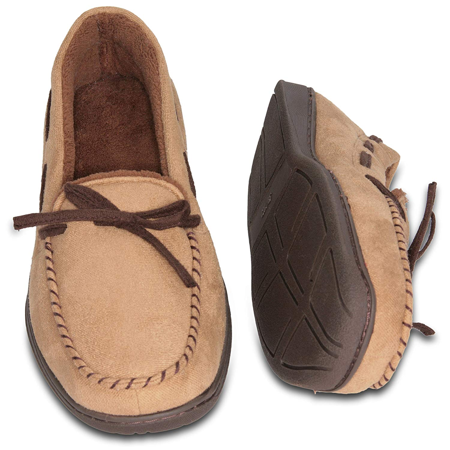Deluxe Comfort Mens Faux Suede Memory Foam Dress Slipper, Size 9-10 - Warm And Stylish Tartan Plaid Fleece Lining - Durable Non-Marking Ruber Sole - Soft Faux Suede Outer - Mens Slippers, Beige