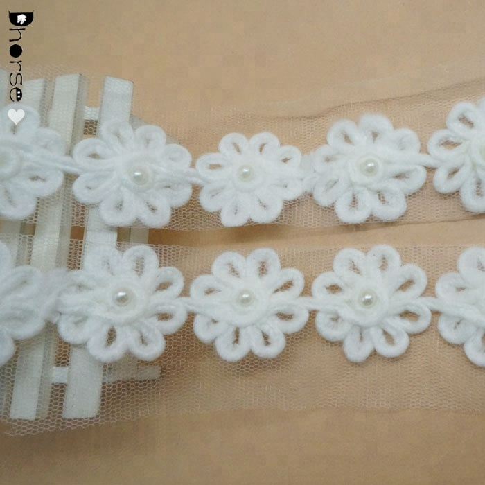 Hot Sale chemical lace trim 3D flower polyester lace trim with pearls DHDT344