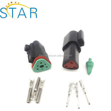 Black Deutsch 3 Pin Waterproof Electrical Wire Connector Plug Kit