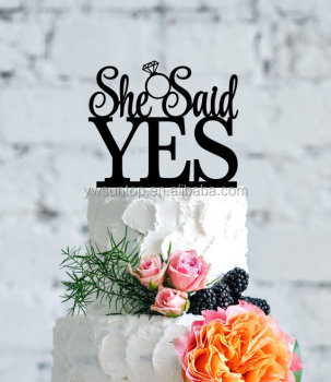 wholesale wedding cake toppers she said yes wedding cake topper bridal shower cake topper 1391