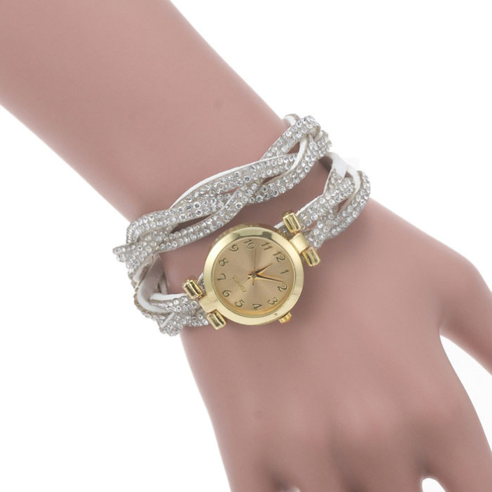 Excellent Quality 2015 new !Hot Sales Criterium Watch Women Korea Cashmere Velvet Diamond Bracelet Watch Korean Twist