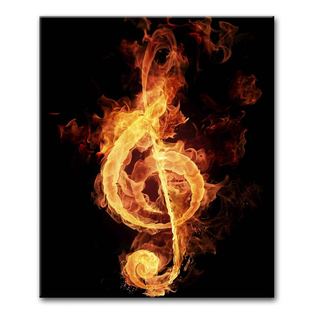 Canvas Print Wall Art Painting For Home Decor Fire Violin Key Sign Music Note Smoking Paintings Modern Giclee Stretched And Framed Artwork The Picture For Living Room Decoration Abstract Pictures Photo Prints On Canvas