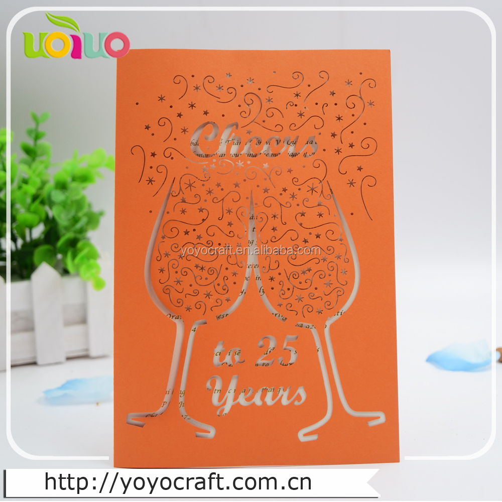Lovely handmade invitation card HAPPY NEW YEAR'S DAY greeting cards with cute white bowknot