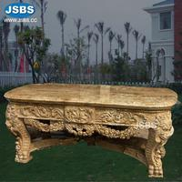 Garden Decoration Lion Head Carved Yellow Oval Marble Top Dining Table for Sale
