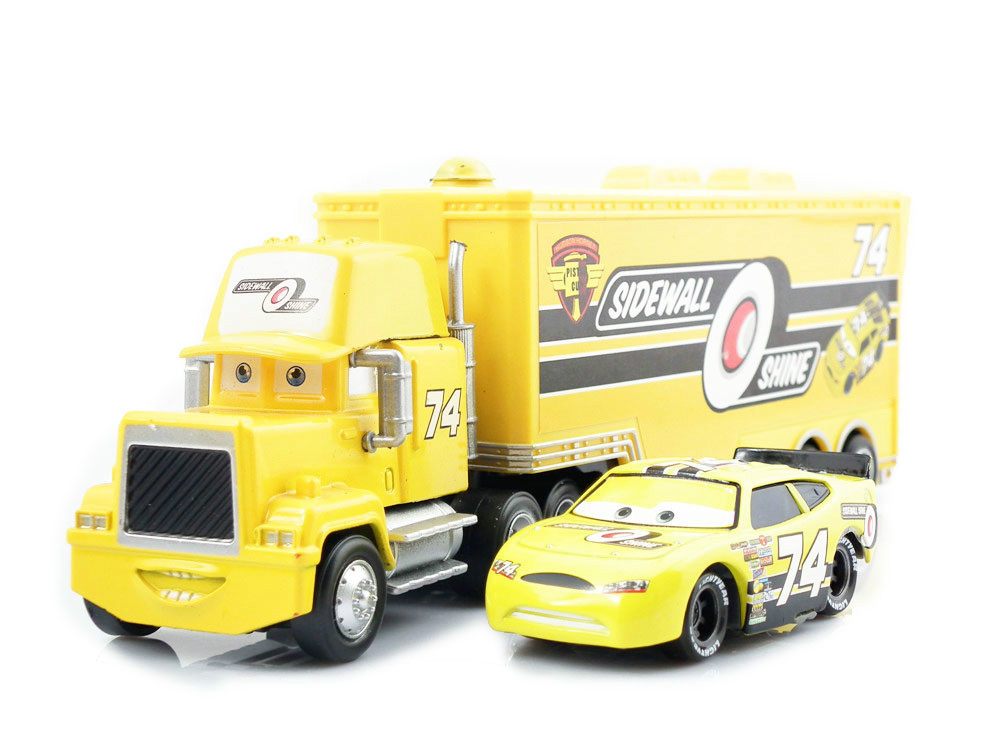 Pixar Cars Diecast Car No 74 Sidewall O' Shine Team & Hauler Truck Uncle Mack Models Vehicles Kids Car Toys For Children