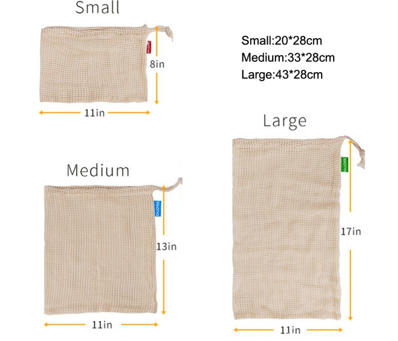 Washable Eco-Friendly Bags for Grocery Shopping 3 Sizes Reusable Mesh string Produce Bag set