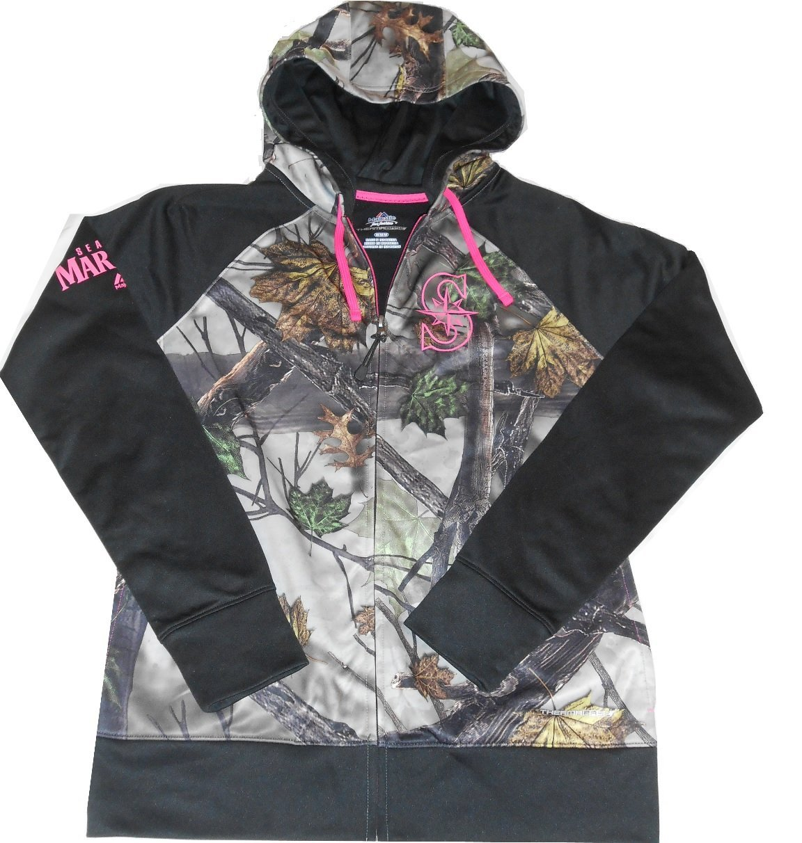 Seattle Mariners Majestic MLB Women's THERMABASE Real Tree Camo / Pink Hoodie Sweatshirt Size Medium