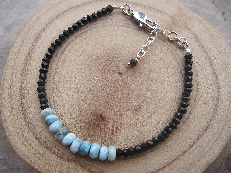 Black Tourmaline Bracelet,Bead Size 3 mm,Genuine Dominican Larimar bracelet,925 Sterling Silver chain extender 1 inch, Size - 6,6.5,7,7.5,8,8.5