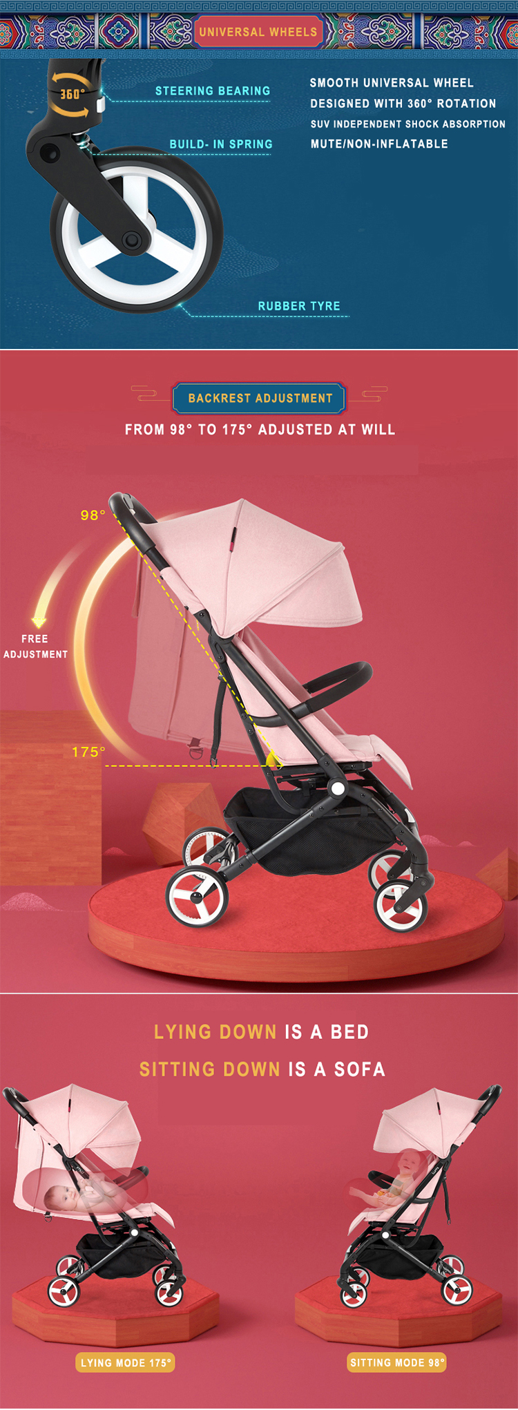 2019 new folding portable baby stroller