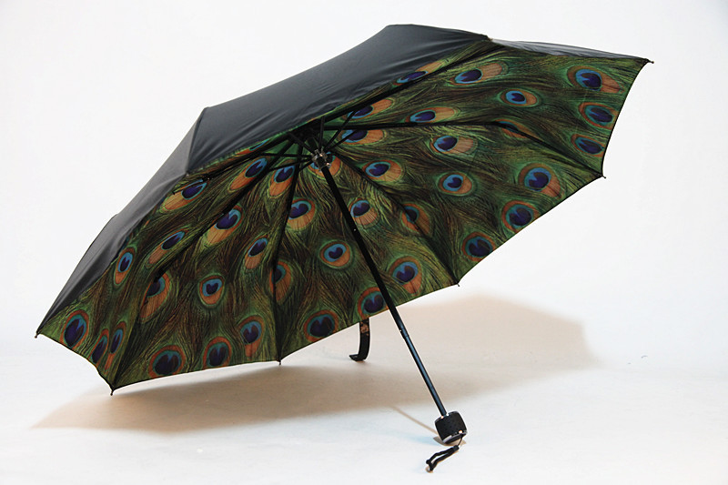 2015 high quality Peacock Three Folding Umbrella sun and rainy umbrella for woman freeshipping parasol guarda chuva
