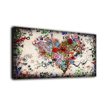 creative artwork canvas painting colourful love heart print fabric