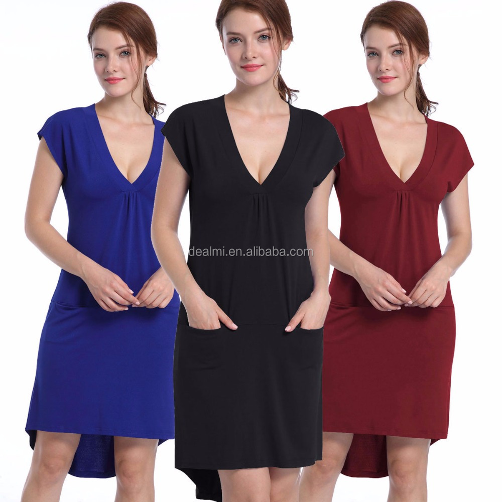 Hot sales deep V double pocket front short long short skirt party dress