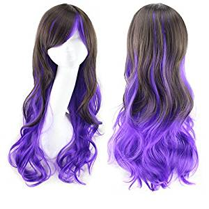 Coolsky Long Wig Black & Purple Wig Halloween Cosplay Party Costume Wig for Women (Black & Purple )