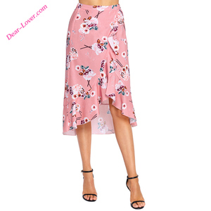 Girl Floral Ruffle Wrap Skirt in Pink