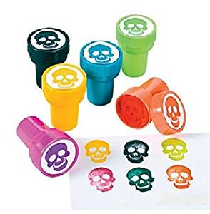 "6 ~ Skull / Skeleton Stampers / Ink Stamps ~ Approx. 1.5"" ~ Plastic ~ New ~ Halloween Pirate Party Favors"