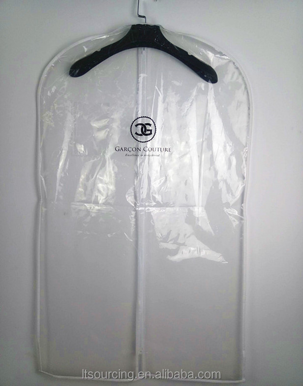 wholesale PVC/PE clear plastic garment bags/suit cover with customized logo