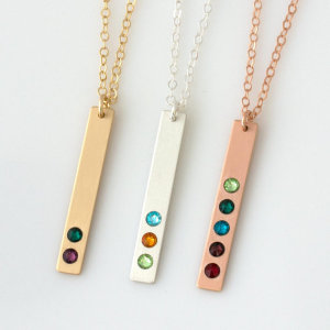 Personalize Jewelry Factory Wholesale Birthstone Bar Necklace Personalized Necklace For Mom