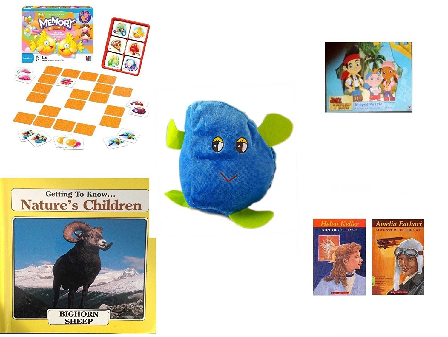 """Children's Gift Bundle - Ages 3-5 [5 Piece] - Original Memory Game - Fish Edition - Jake and the Never Land Pirates 24 Piece Puzzle Toy - Plush Appeal Blue Raindrop Plush 6"""" - Getting to Know Nature"""
