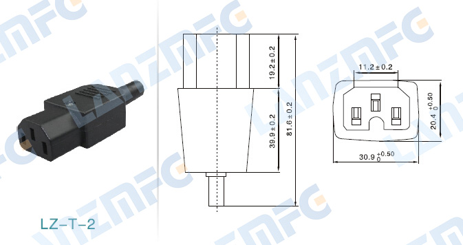 LZ-14-T2 10A 250V 3 18AWG AC Power EXTENSION CABLE C13 ปลั๊กซ็อกเก็ต C14 Power Socket