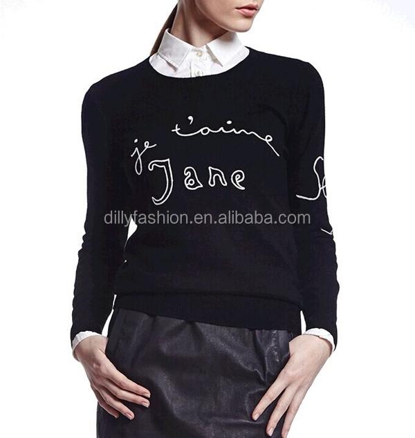 Suéter De Lana Letras Diseños Para Damas Tejer Patrón - Buy Product ...