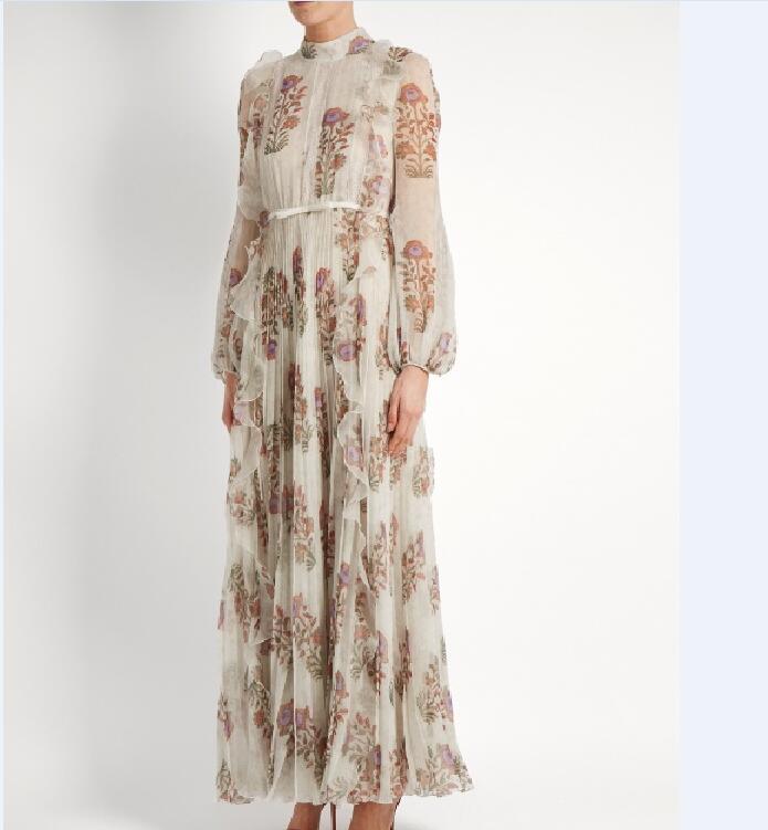 f3b427702 100% de seda de las mujeres ocasionales volantes impresión Maxi vestido