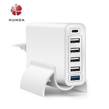 6 Port 60W Qualcomm Quick Charge 3.0 +Type-c Wall Travel Charger for HTC One M9 M10 and more