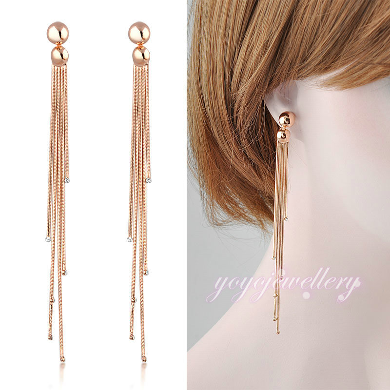 Get Quotations Multi Layers Long Tel Earrings Drop Dangle 18k Gold Plated Snake Chain E120