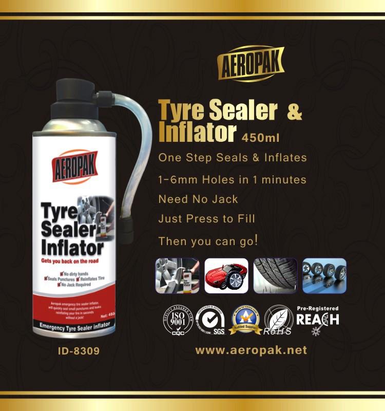 Aeropak Aerosol Fix Flat Tyre Sealer Inflator with Eco-friendly Formula 650ml