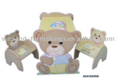 Wooden Animal Bear Design Kids Table Chair
