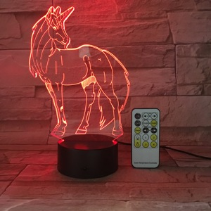 Christmas Gifts Remote Switch Control Unicorn LED Night Light Baby Room Decor 3D Illusion Bedside Lamp