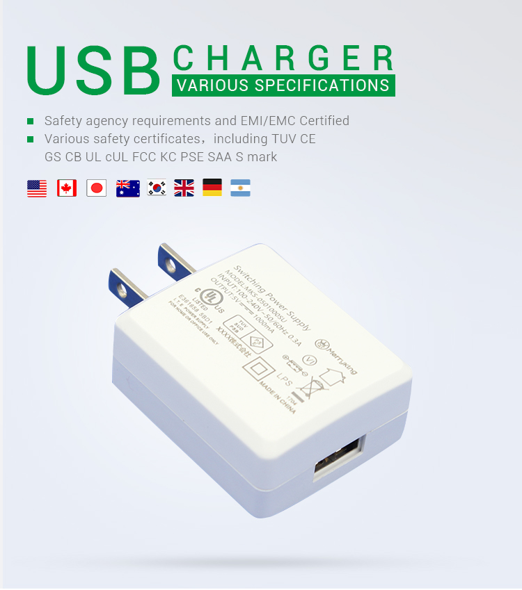 PSE listed power supply adapter usb 5v 1a 1.2a 2a type c wall chargers for mobile phone