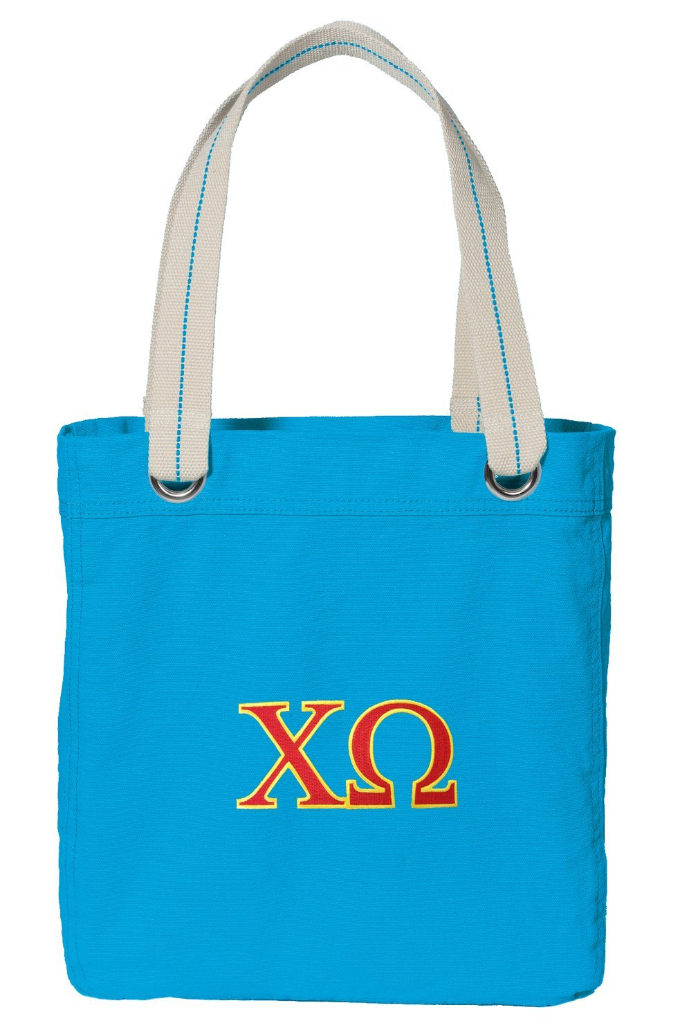 Chi Omega Tote Bag DELUXE Dye Washed COTTON CANVAS Turquoise