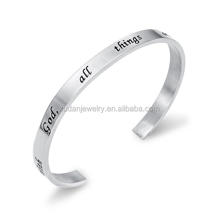 Custom Fashion Cheap Women Inspire Bangle Bracelet Jewelry 316L Stainless Steel 2016 Engraved Cuff Metal Bracelet Wholesale