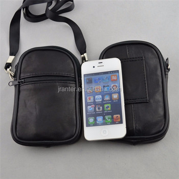Custom Cell Phone Neck Pouch Case for iPhone Leather Waterproof Pouch with Waist Strap