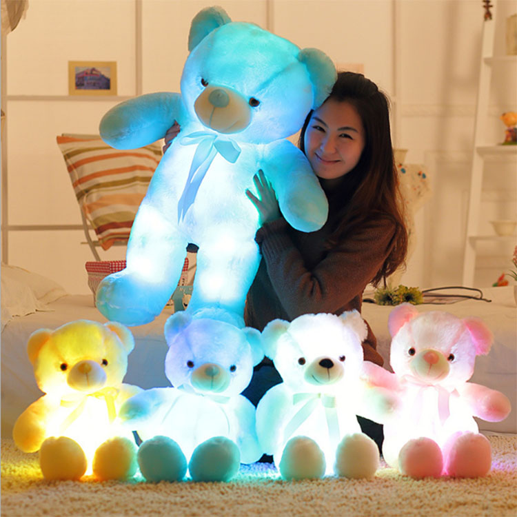 Personal musical singing Flashlight Glow-in-the-dark led light up teddy bear plush toy Valentine's gift plush bear toy