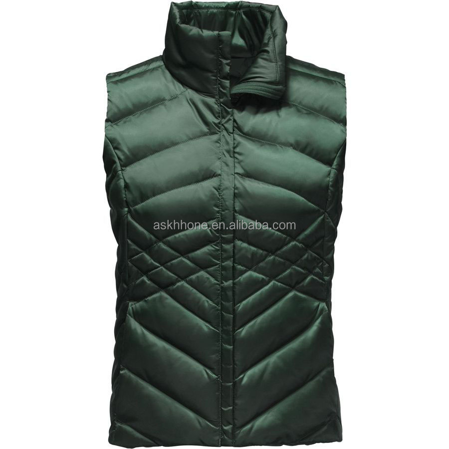 Outdoor customized women's soft satin down vest for winter