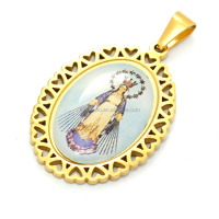 Wholesale Cheap Classic lace-up design Gold Plated Virgin Mary Medal Religious Jewelry