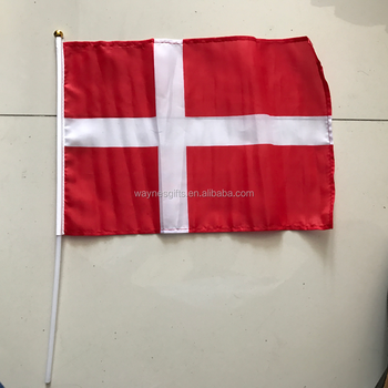 Custom China Professional polyester Denmark national Hand Flag Maker