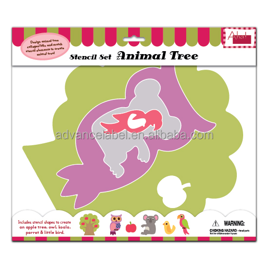 Paper Stencil Set Drawing Painting Decorating Decoration Stationery DIY OEM ODM Animal Tree theme