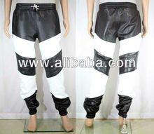 Mens Jogging SweatPants leather sweat pants trousers lined lambskin