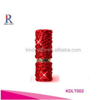 Bling bling exotic red rhinestone inlaid exquisite quality lipstick tube