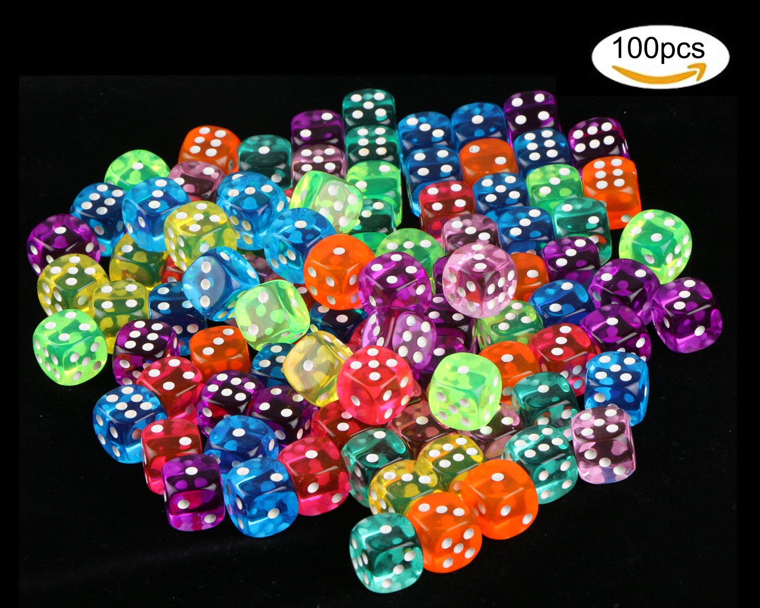 100 Pcs Translucent Colors 6-Sided Games Dice Set, 14 mm Round Corner Dice for Playing Games, Like Board Games, Dice Games, Math Games, Party Favors, Toy Gifts or Teaching Kids Math