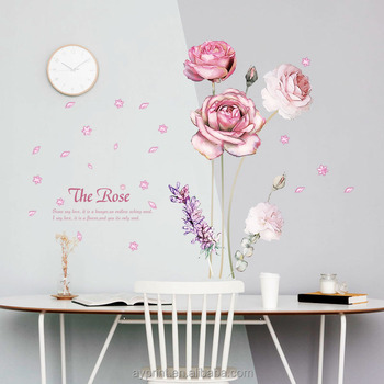 sk9284 pink rose flower decorative wall sticker removable home decor